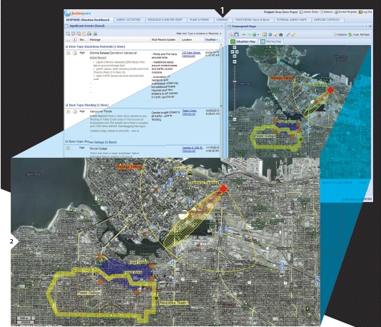 FIGURES 1-2. The Fusionpoint Situational Dashboard and Map are examples of how disparate data sources can be layered together for effective disaster incident response. Courtesy of Fusionpoint, powered by Emergeo (Vancouver, B.C., Canada).