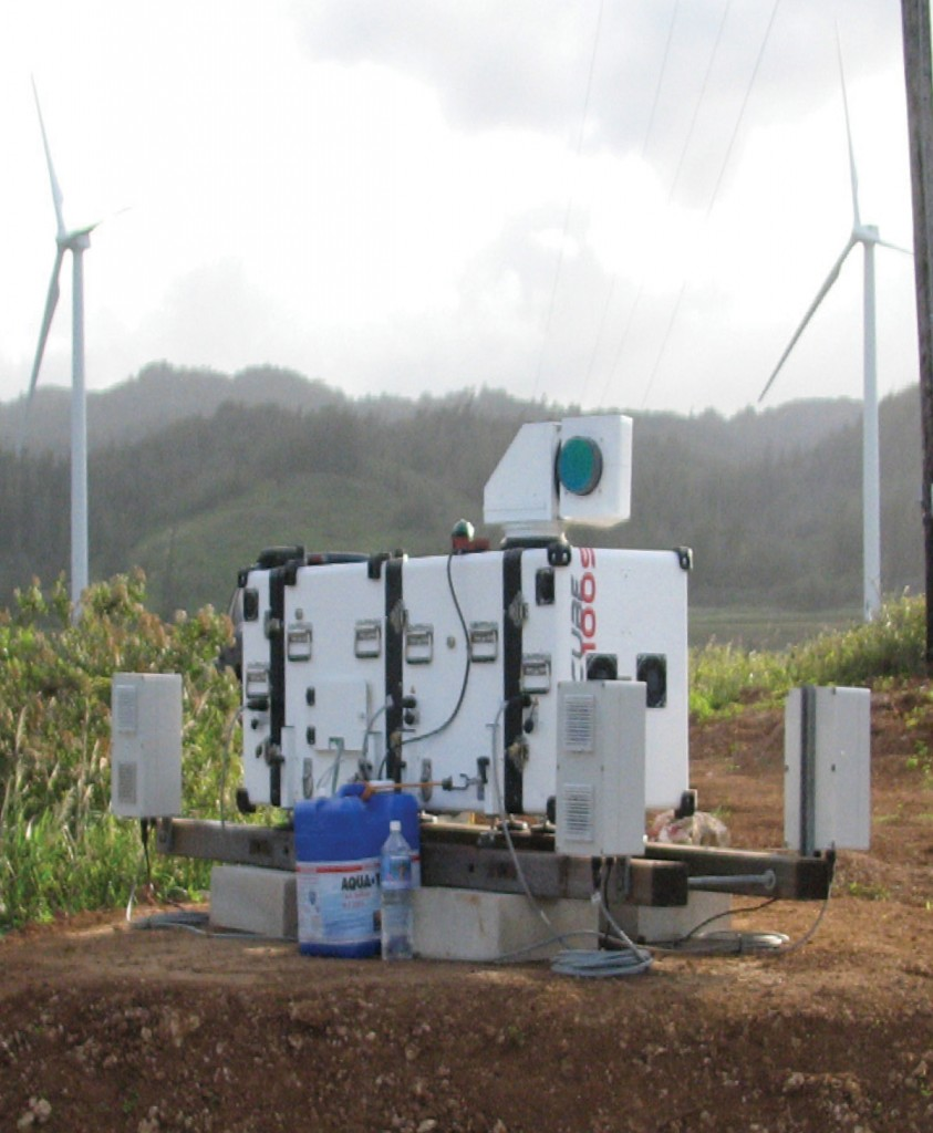 FIGURE 3. Leosphere scanning LiDAR owned and operated by the Hawaiian Electric Company (HECO) at the Kahuku Wind Farm. Photo by Matthew Filippelli. Courtesy of AWS Truepower.