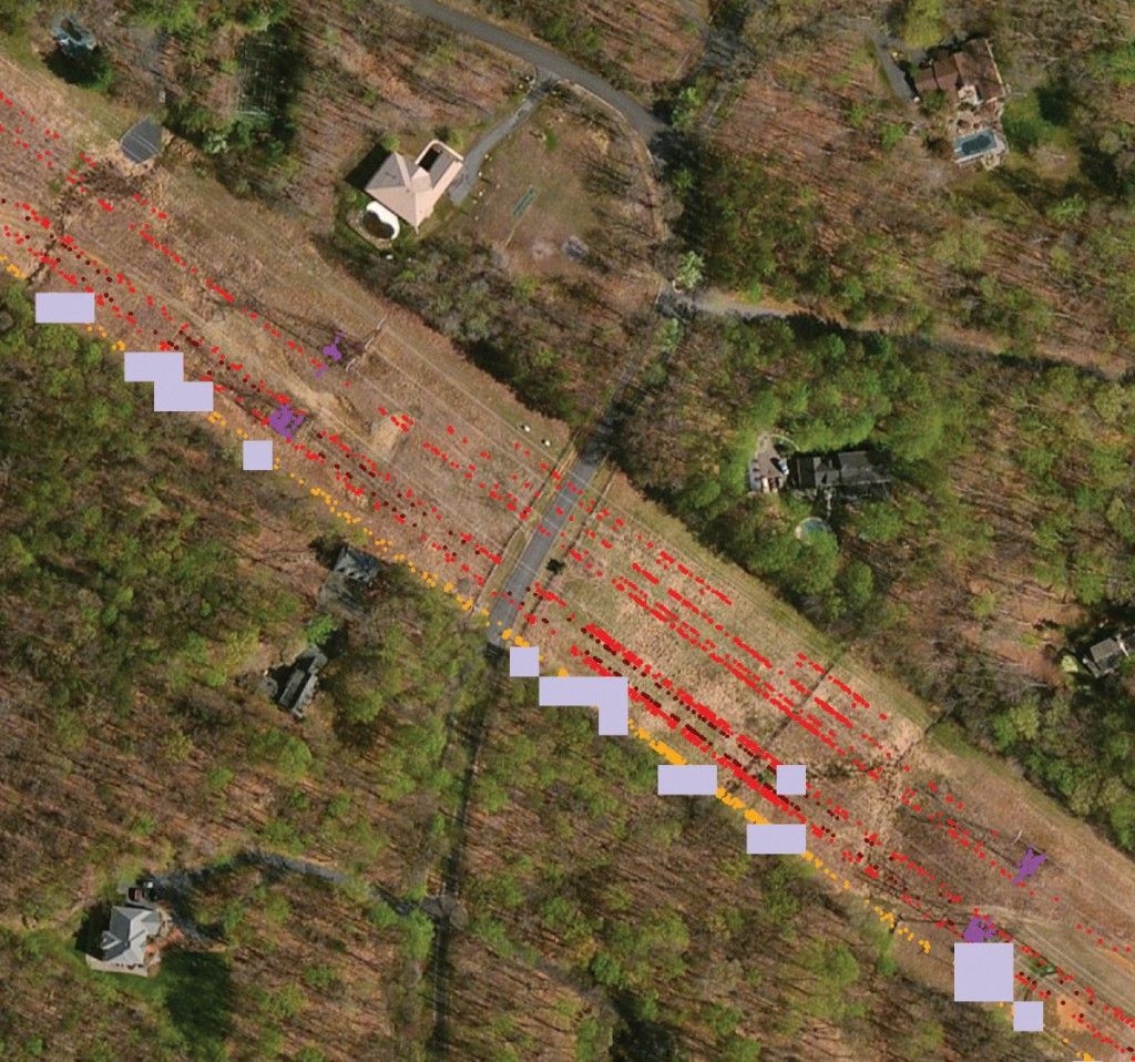 FIGURE 2. Analyzing airborne LiDAR to identify work order areas for inspection along utility corridors. Image courtesy of Esri.