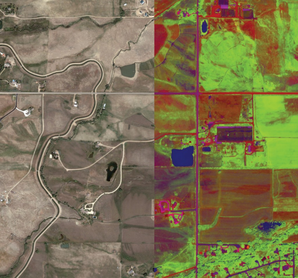 FIGURE 3. Using image analysis algorithms to analyze and map wetness and vegetation vigor in imagery. Image courtesy of Esri.