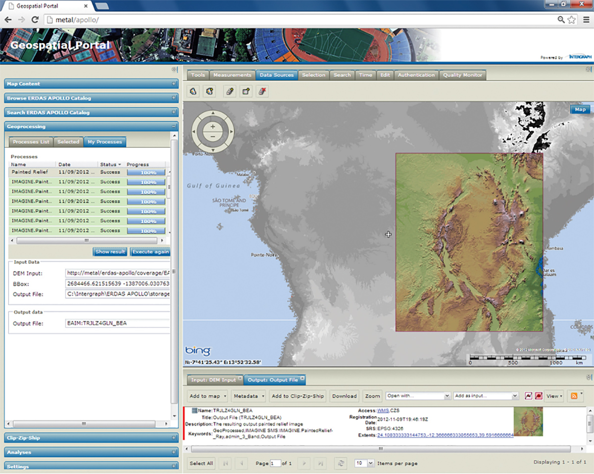 FIGURE 6. In conjunction with the Geospatial Portal, ERDAS APOLLO offers on-the-fly geo processing that enables users to execute spatial models from a Web client. Image courtesy of Intergraph.