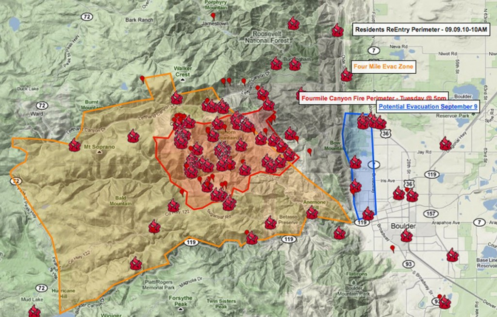 FIGURE 3.  During the surge of  large-scale fires in Colorado during 2010, joint operation situational maps successfully combined social media (vetted and non-vetted), public data feeds, and professional disaster data for a more comprehensive situational map. This particular view focused on the fires in the Boulder, Colorado area where burnt structures were reported by the public via social media and verified by disaster responders.