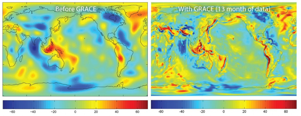 FIGURE 3. Before the launch of NASA's GRACE satellite in 2002, knowledge of gravity was based upon decades of data from geodetic satellites (left image). Monthly gravity  measurements are possible now that are 100x more accurate than previous models. The map on the right was produced after only 13 months of GRACE data.