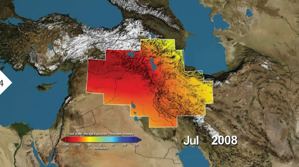 FIGURE 4. The Middle East had major losses in water storage, shown here in millimeters from Jan. 2003-Dec. 2009. Red shows drier condi- tions, with blue showing wetter conditions. The majority of the water loss was due to reduc- tions in ground water due to human activities. Image credit: NASA/UC Irvine/ NCAR.