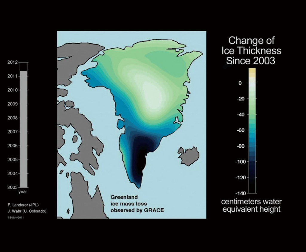 FIGURE 5. GRACE measures changing ice mass of Greenland, which has had major reductions, shown here. Image credit: NASA/JPL-Caltech/ University of Texas Center for Space Research.