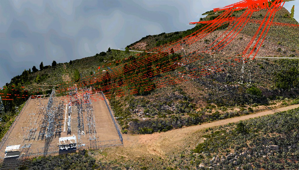 FIGURE 3. 3D view of elec- trical substation and transmission lines, courtesy of Merrick.