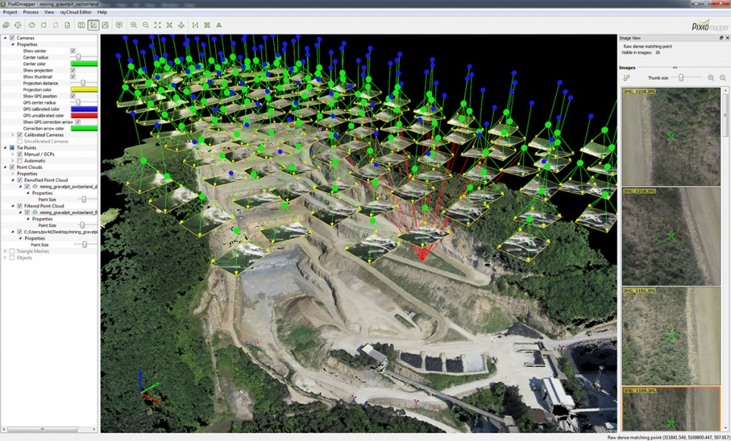 FIGURE 4. Pix4D's rayCloud editor combines the 3D points of a point cloud with the original input images, resulting in this image of a quarry.