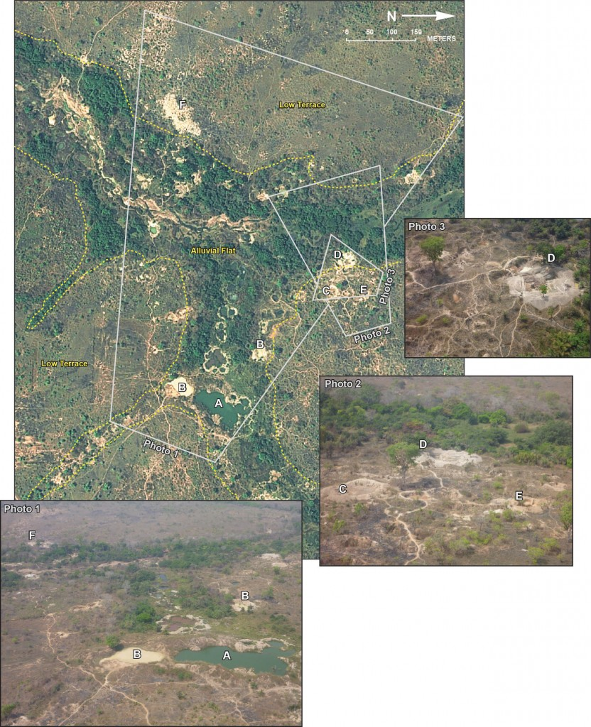 FIGURE 4. A comparison of oblique aerial photography on the right, and a Worldview-2 satellite image on the left. The Worldview-2 image, collected on Feb. 3, 2012, shows the intense mining activities of artisanal miners in a floodplain in West Africa. Oblique photography collected at the same site in June 2012 shows a detailed view of the active and inactive mining pits.  [A] Large inactive mining pit which has now filled with water; [B] Two previously mined pits that have filled with water and sediment, indicating that they were recently used for washing and sorting gravel; [C] A recently abandoned pit with eroded headwalls that has not yet filled with water, indicating recent but completed activity; [D, E] Large active mining pits with the headwalls visible where miners are in the process of excavating. The particularly bright reflectance of the recently- removed spoil materials surrounding the pits in the satellite image is further evidence of the pits' activity; [F] A cluster of small exploration pits in the low terrace geomorphic zone. Satellite image courtesy of Digital- Globe, Inc. Aerial photographs courtesy of Simon Gilbert, United Nations.