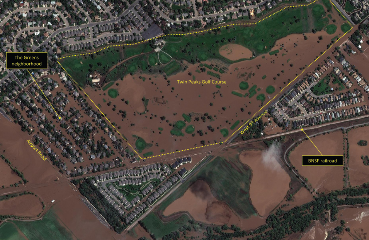 Figure 1. Image shows flooding of the Greens neigh- borhood and Twin Peaks Golf Coursein Longmont, Colorado, from the St. Vrain River, taken Sept. 13, 2013. Image courtesy of DigitalGlobe Analysis Center.