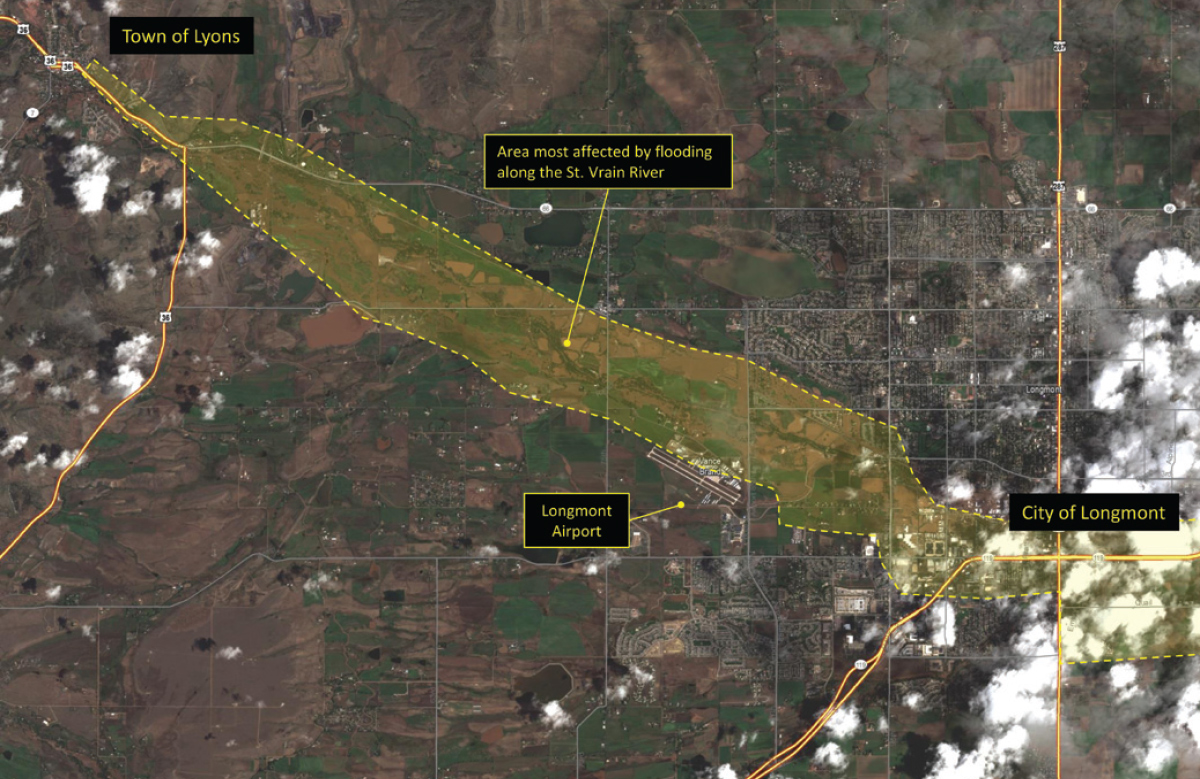 Figure 2. Flooding along the St. Vrain River, from Lyons south to Longmont, Colorado. Image taken Sept. 13, 2013, courtesy DigitalGlobe Analysis Center.