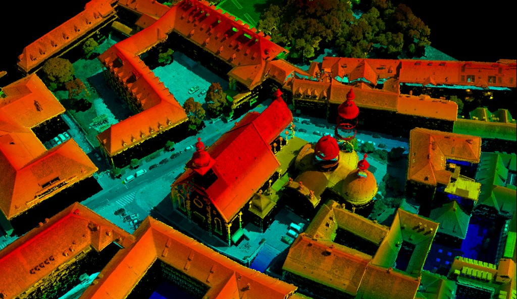 FIGURE 6. Very high- density point cloud from dense matching of cathedral in Graz, Austria, taken with UltraCam Xp at ground sam- pling of 6 cm, is exportable to LAS file format, courtesy of Microsoft.