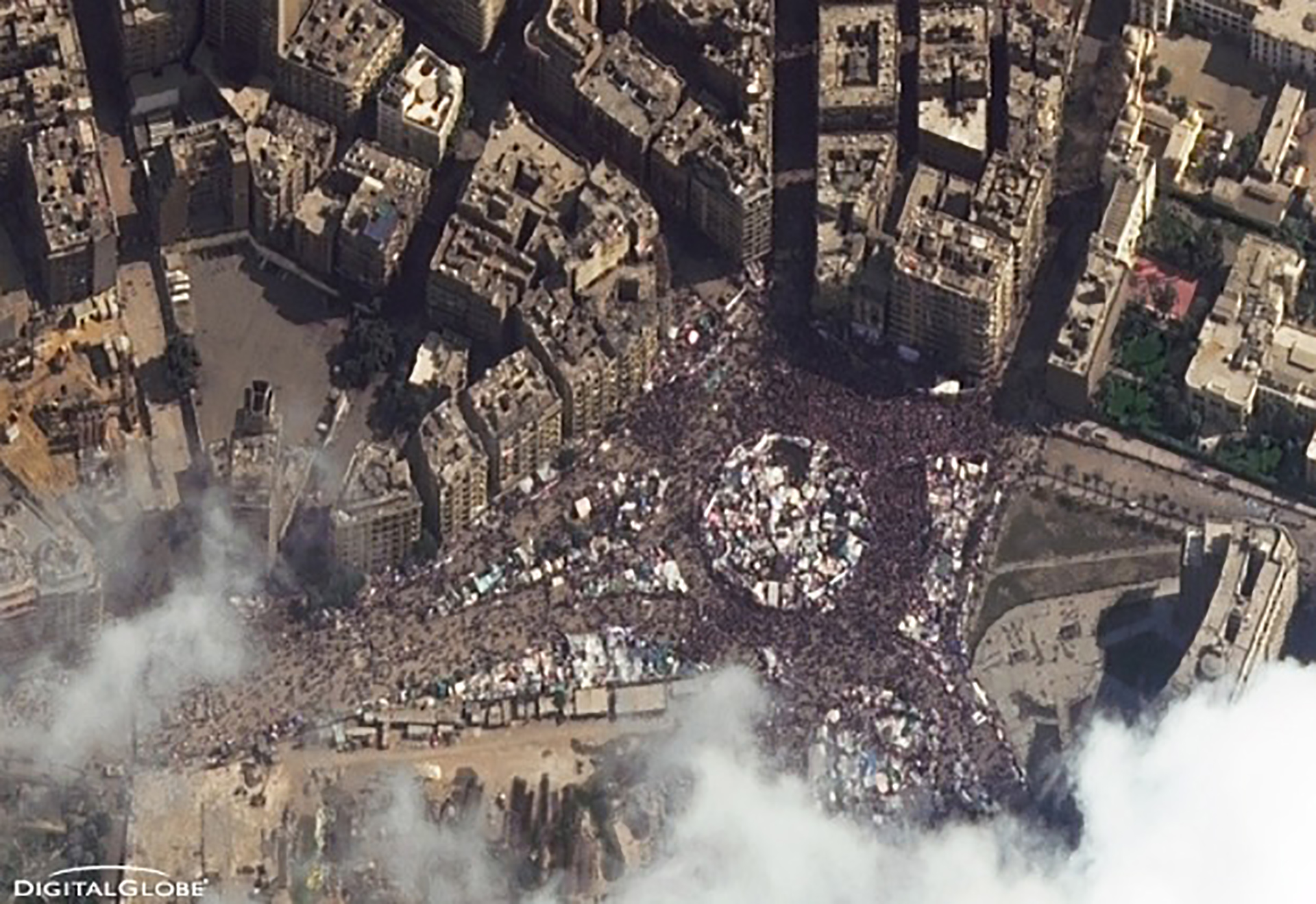 FIGURE 6. This image shows Cairo's Tahrir Square on February 11, 2011, the day Hosni Mubarak gave up the Egyptian presidency, when an estimated 300,000 protesters gathered in downtown Cairo, Egypt. Courtesy of DigitalGlobe.