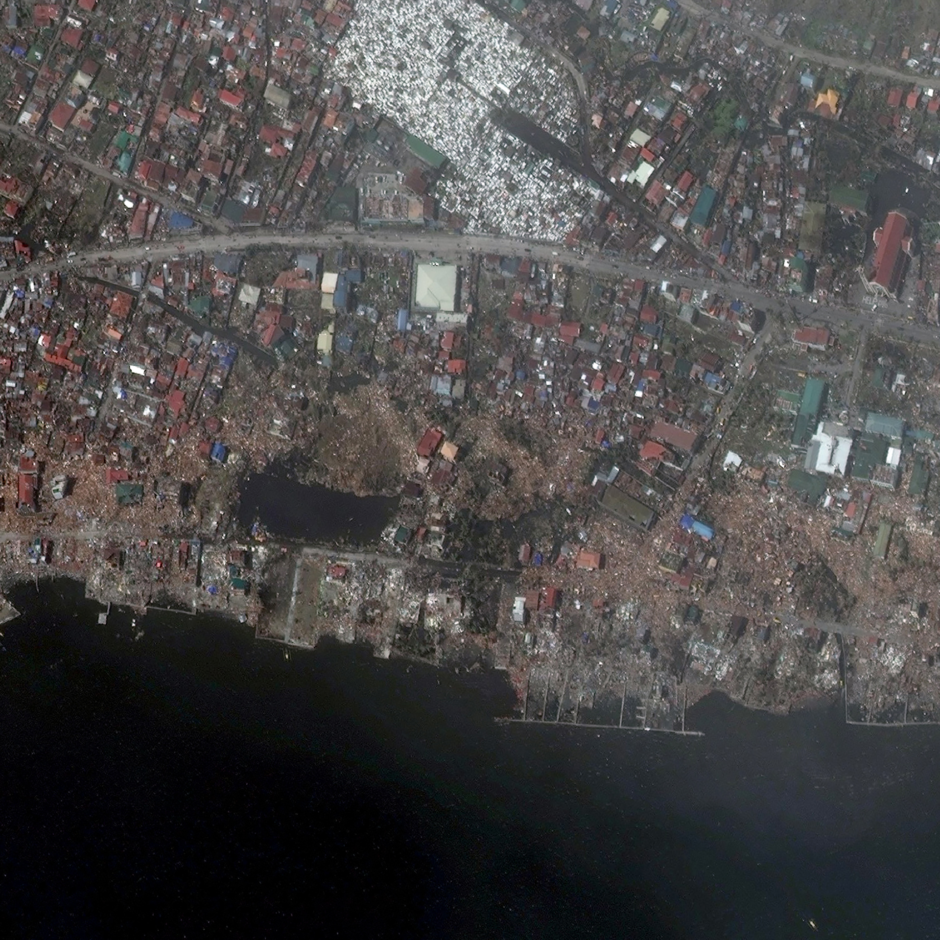 FIGURE 2. After: This image of Tacloban City was taken Nov. 10, 2013, showing damage from Typhoon Haiyan. Image courtesy of DigitalGlobe
