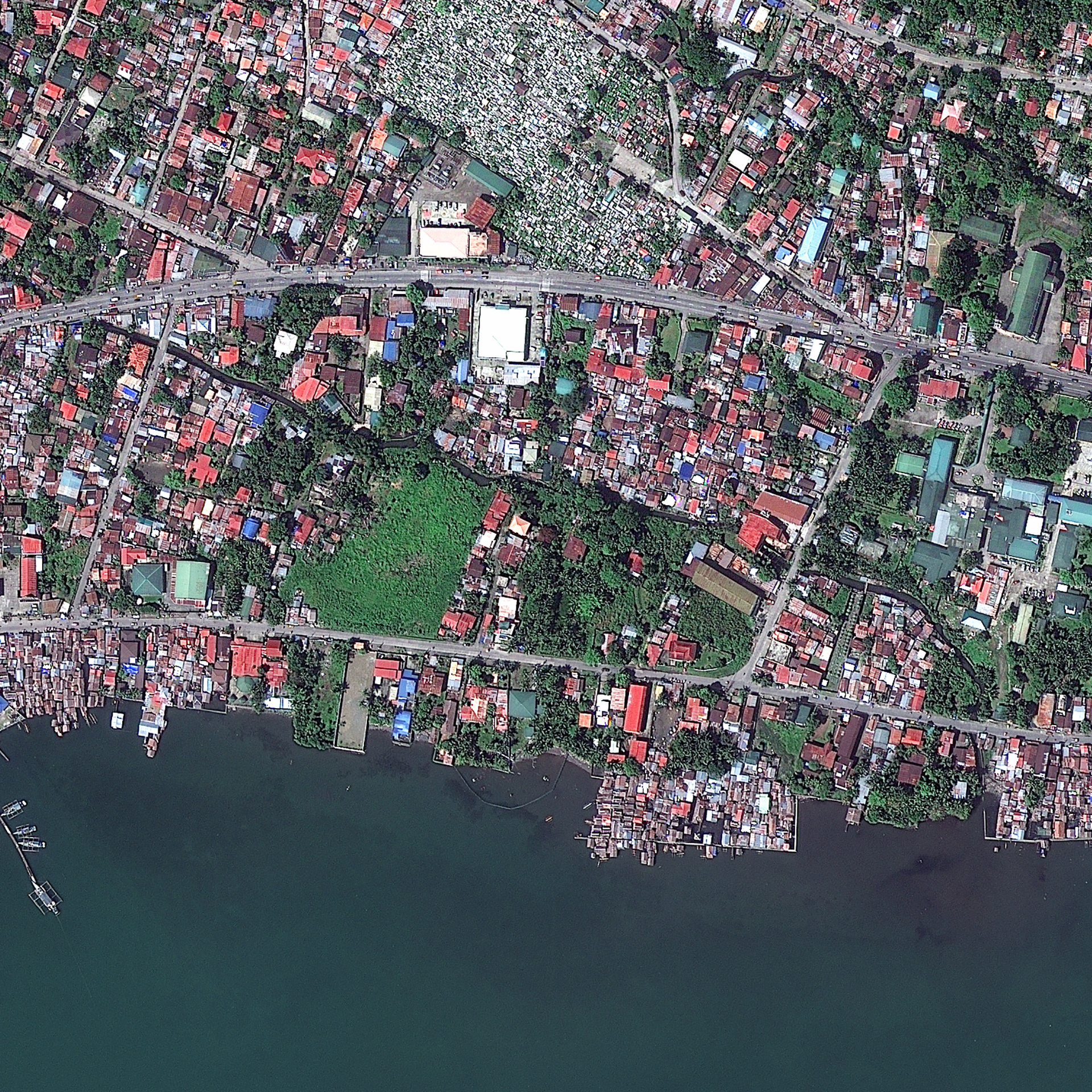 FIGURE 1. Before the typhoon: Tacloban City, Philippines, captured Feb. 23, 2012, courtesy of DigitalGlobe.