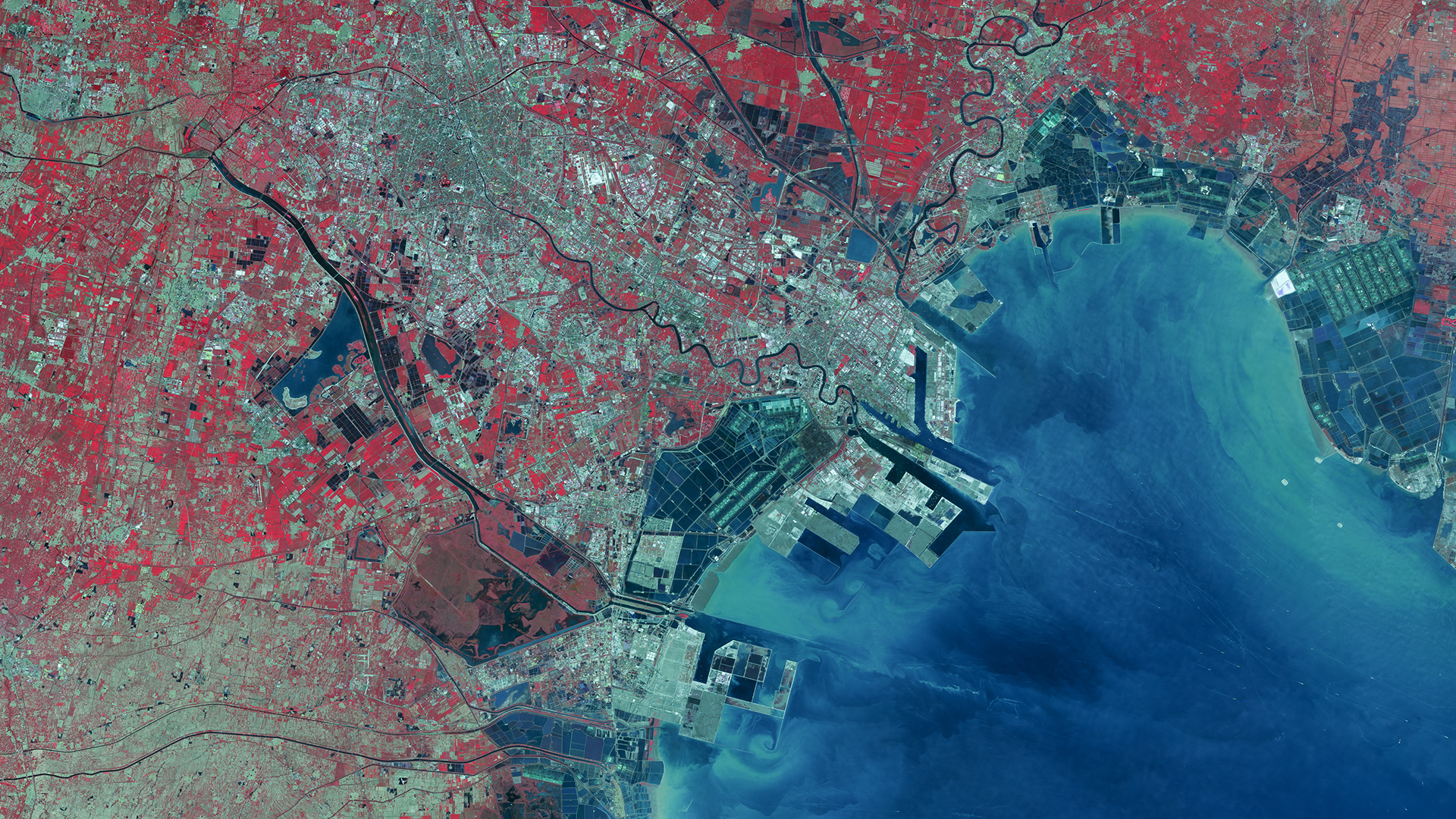 FIGURE 2. Image of harbour in Binhai, Tianjin, China acquired Oct. 2, 2013, courtesy of DMCii.