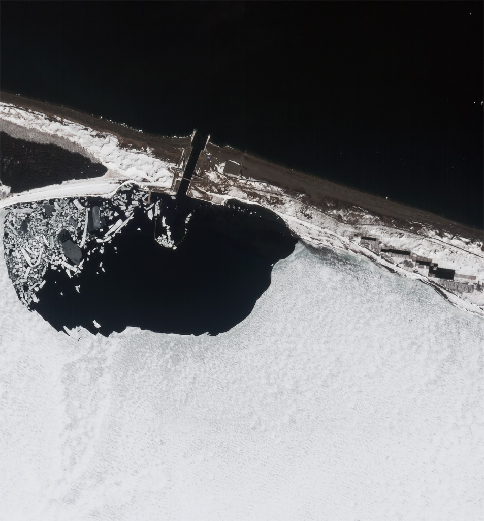 FIGURES 1-2. Lake Saroma, Japan images clearly show ice melt in on FIGURE 1. March 27, 2014