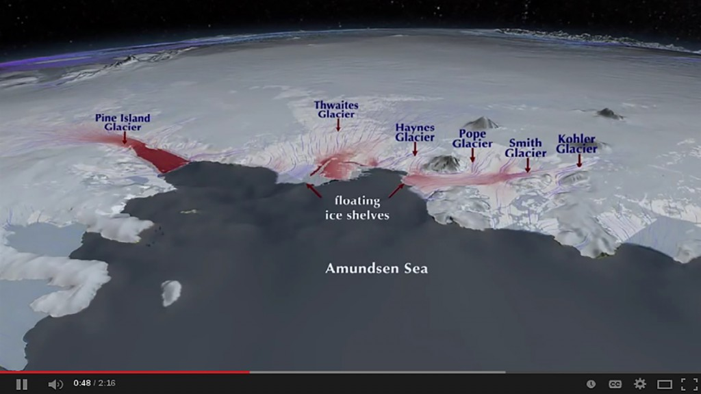 FIGURE 4. The Amundsen Sea region is the most unstable part of the WAIS. Although it is only a fraction of the whole WAIS, the region con- tains enough ice to raise global sea levels by 1.2 meters (4 feet). Source: NASA.