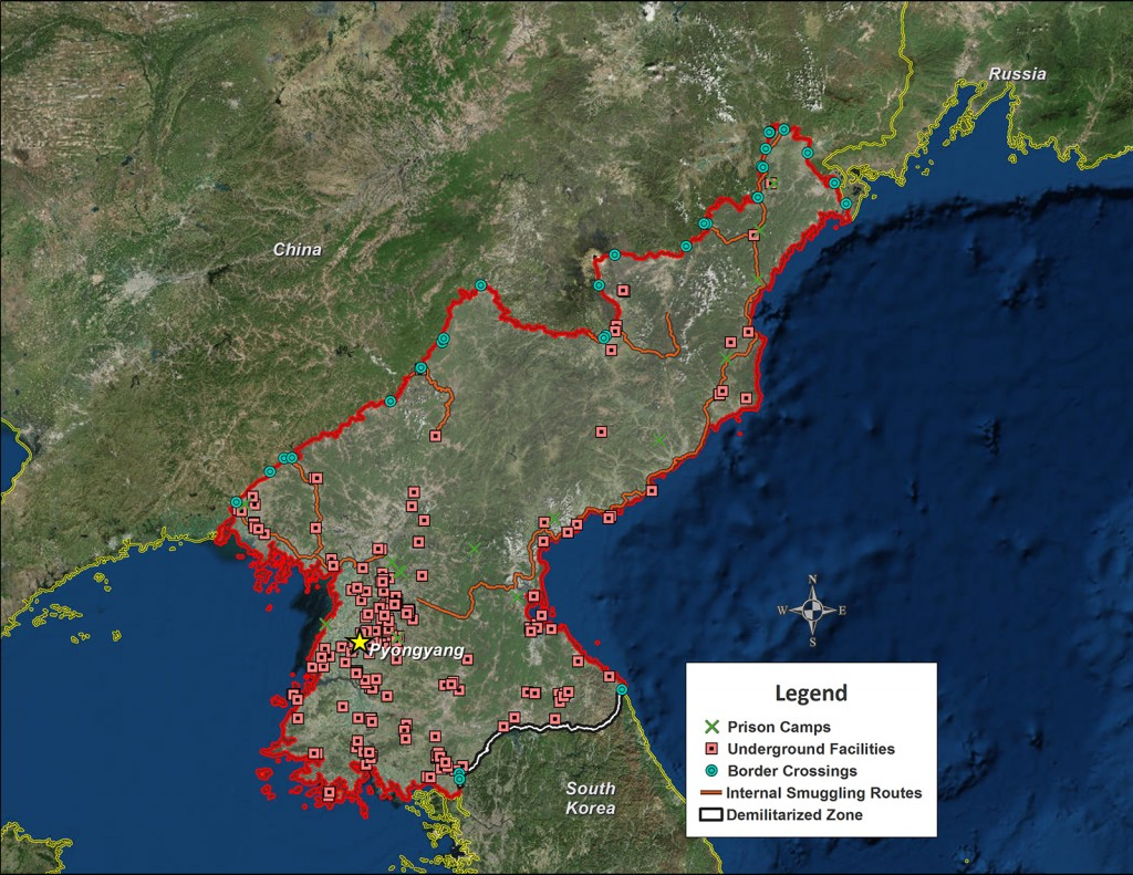 FIGURE 1. North Korea showing prison camps, locations of underground facilities, inter- nal smuggling routes, and the demilitarized zone (DMZ) on the southern border with South Korea
