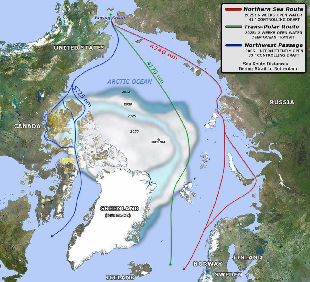 FIGURE 3. Decreasing Arctic ice opens shipping and travel routes. Source: U.S. Navy Arctic Roadmap.