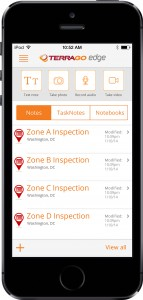 FIGURE 1. TerraGo Edge on iPhone provides a lightweight dashboard to keep track of your most recent notes, tasks, and notebooks.