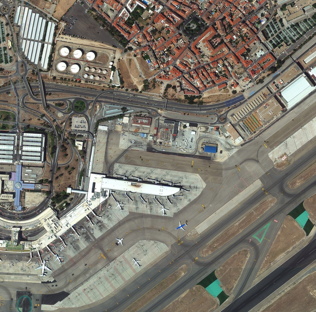 FIGURE 5. Madrid Airport in Spain, at 40-cm resolution, captured Aug. 21, 2014, with WorldView-3