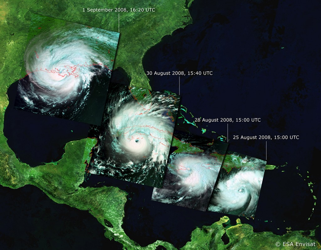 FIGURE 3. Satellite images of Hurricane Gustav as it approaches the United States in August and September 2008, courtesy of ESA.
