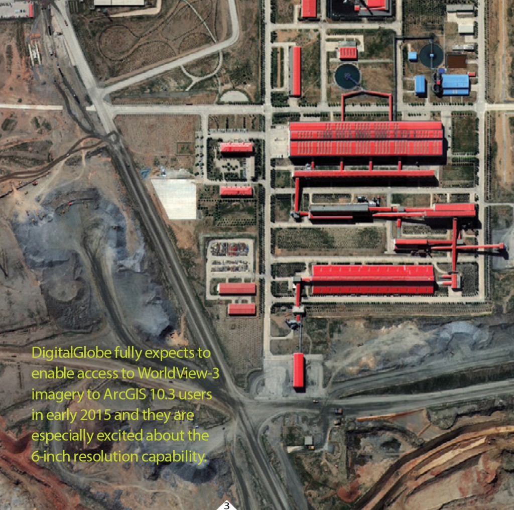 FIGURE 3. This image from the new WorldView-3 satellite of a mine in China, captured on Aug. 23, 2014, is shown in 40-cm resolution, pend- ing approval to release it at 30-cm resolution. Courtesy of DigitalGlobe.