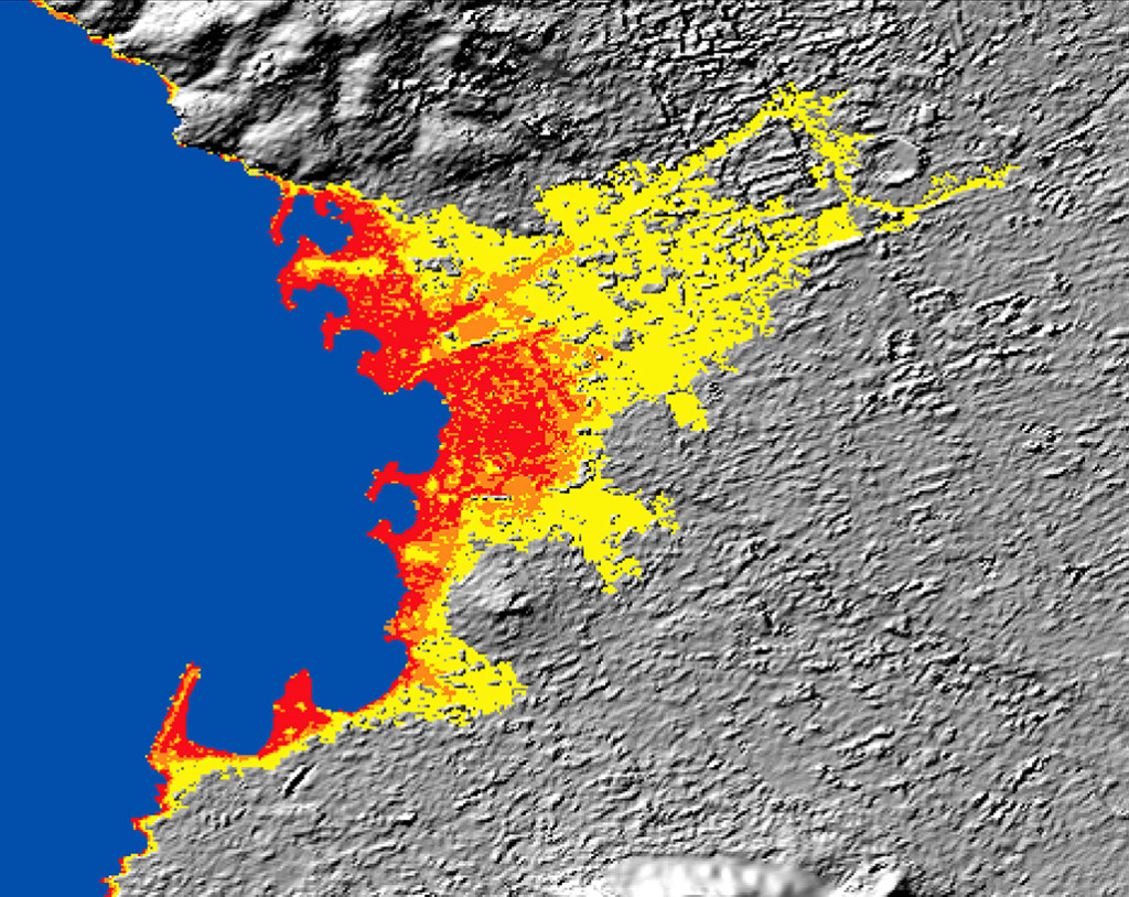 FIGURE 10. WorldDEM graphic showing sea-level rise modeling for Marseille, a port city in southern France, with red showing 3m, orange showing 5m, and yellow showing 10m. Copyright and courtesy of DLR 2015 and Airbus DS Geo GmbH 2015.
