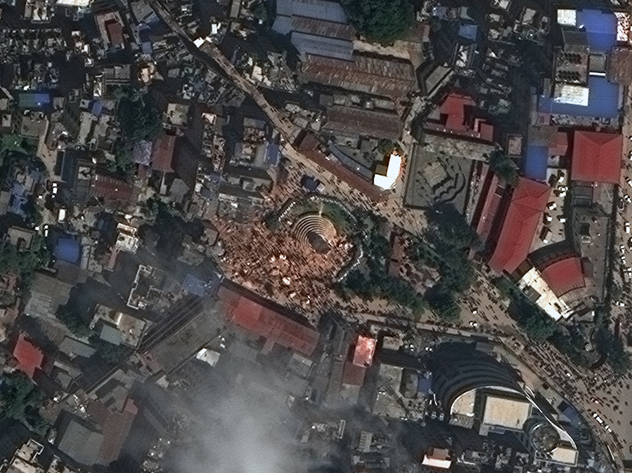 FIGURES 3-4. Dharahara Tower in Kathmandu, Nepal, on Oct. 25, 2014, before the earthquake, and after, on April 27, 2015. Images captured by WorldView-3, courtesy of DigitalGlobe