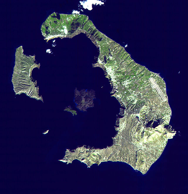 FIGURE 4. The Greek island Santorini is the site of one of the largest volcanic eruptions during the Holocene. It occurred about 3,600 years ago during the height of the Minoan civilization, left a large caldera surrounded by volcanic ash deposits hun- dreds of meters thick. The eruption had severe impacts on the civilization in the Mediterranean. Source: NASA, see http://photo- journal.jpl.nasa. gov/catalog/ PIA02673.