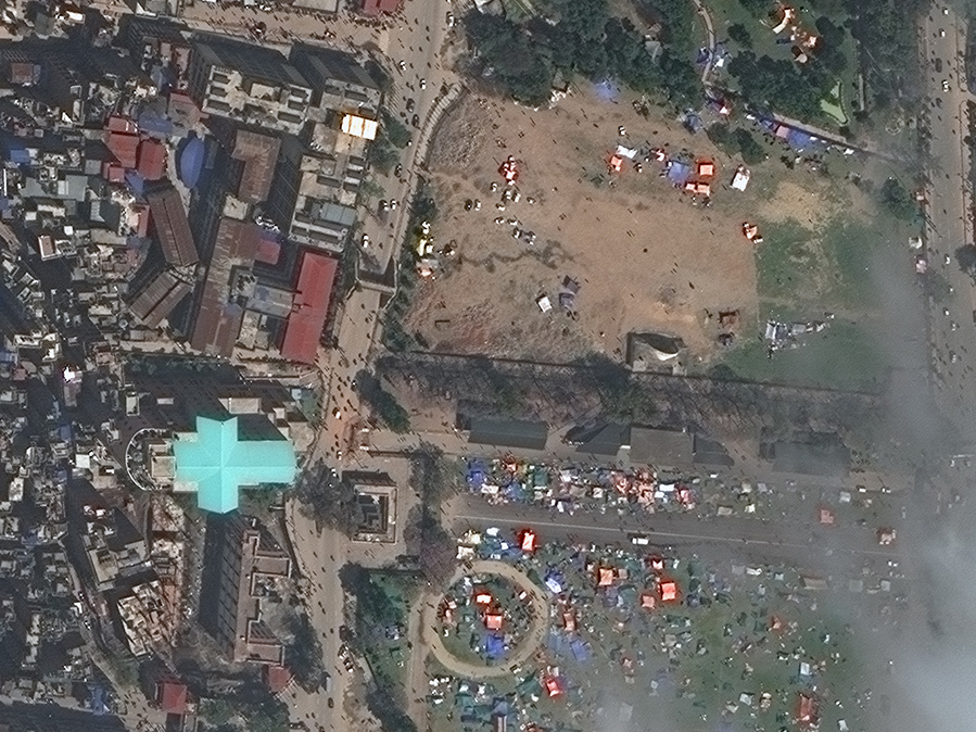 FIGURES 8-9. This area of Nepal shows a newly formed tent city following the earthquake. Before image is Oct. 25, 2014, and after is April 27, 2015. Images by WorldView-3, courtesy of DigitalGlobe.