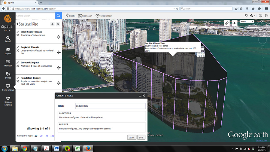 FIGURES 2-3. Sea-level rise predictions for Miami, Florida, as shown in iSpatial.