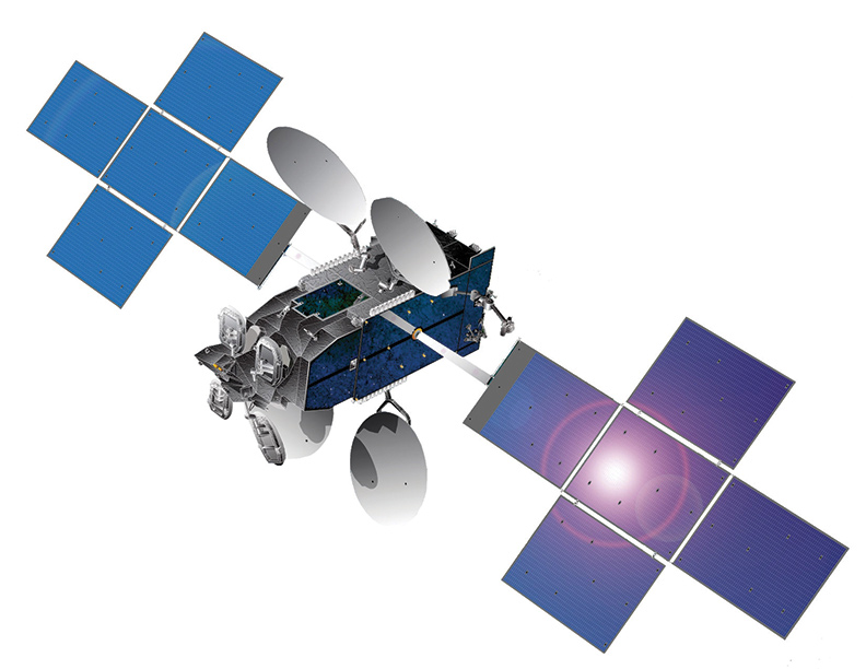 A rendering of ViaSat-1, the world's highest capacity communications satellite, courtesy of ViaSat.