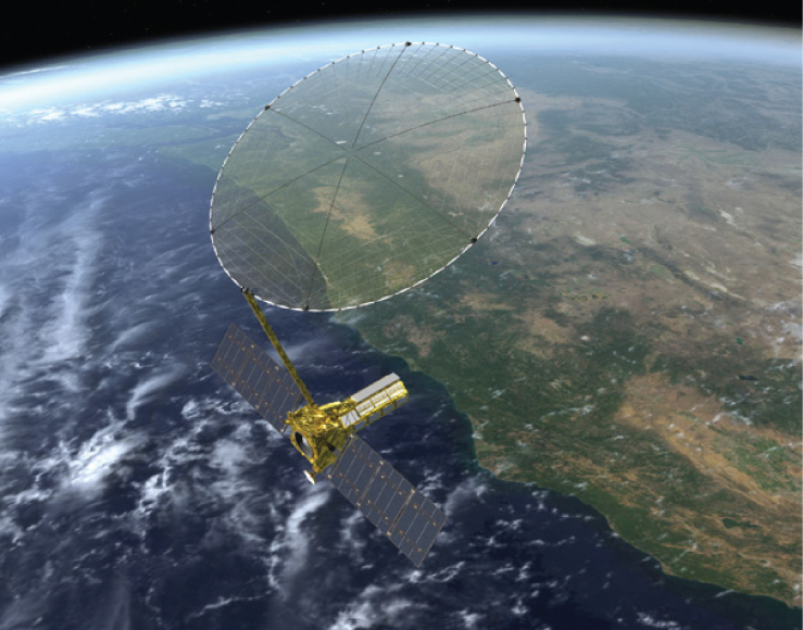 FIGURE 1. Artist rendition of the NASA-ISRO NISAR satellite, to be launched in 2020. Credit: NASA.