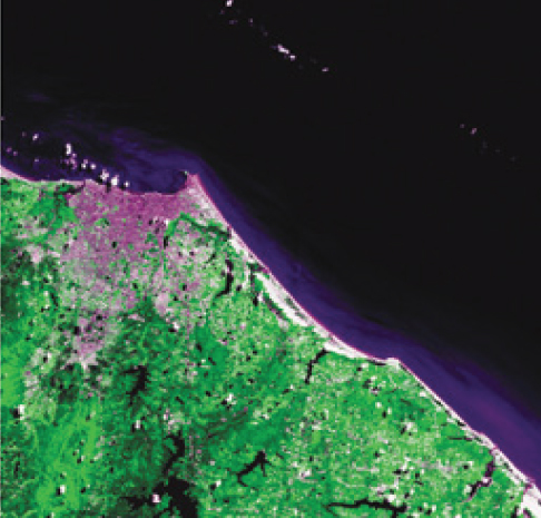 FIGURE 2. CBERS-2 image of Fortaleza, the fifth most populous city in Brazil and capital of the state of Ceará, captured in March 2004. Credit: CBERS/ INPE.