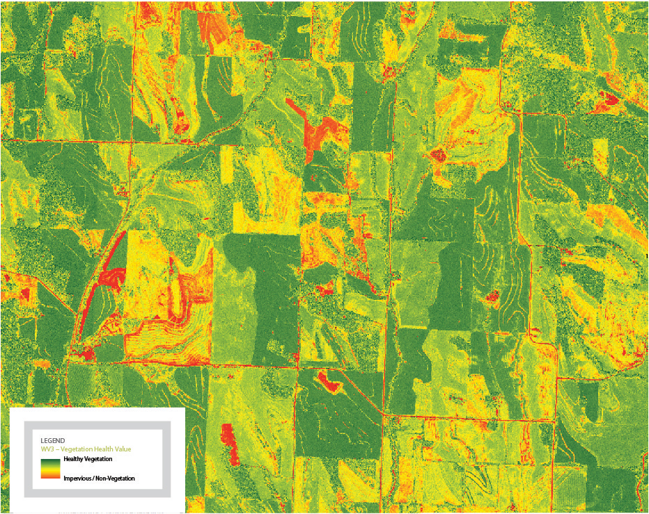 FIGURE 1. ENVI analytics showing a Vegetative Health Analysis using the Very Near Infrared (VNIR) Bands of DigitalGlobe's WorldView-3 Satellite. Courtesy: ENVI and DigitalGlobe.
