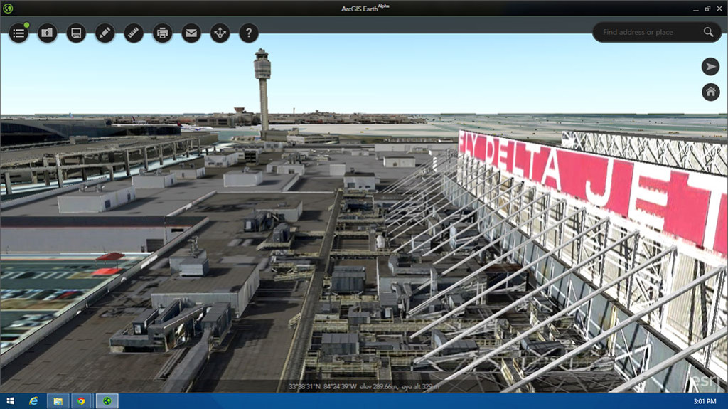 FIGURE 3. 3D view of a portion of Hartsfield- Jackson Atlanta International Airport, based on data from Pictometry, courtesy of Esri