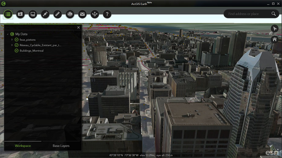 FIGURE 4. 3D view of downtown Montreal, Quebec, Canada, courtesy of Esri