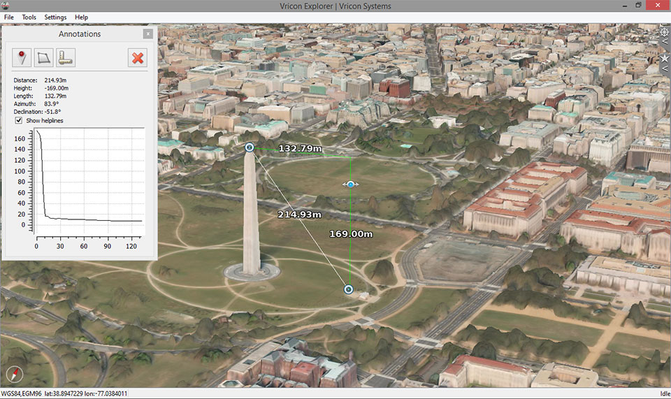 FIGURE 7-8. 3D data in Vricon Explorer of Washington, DC, USA