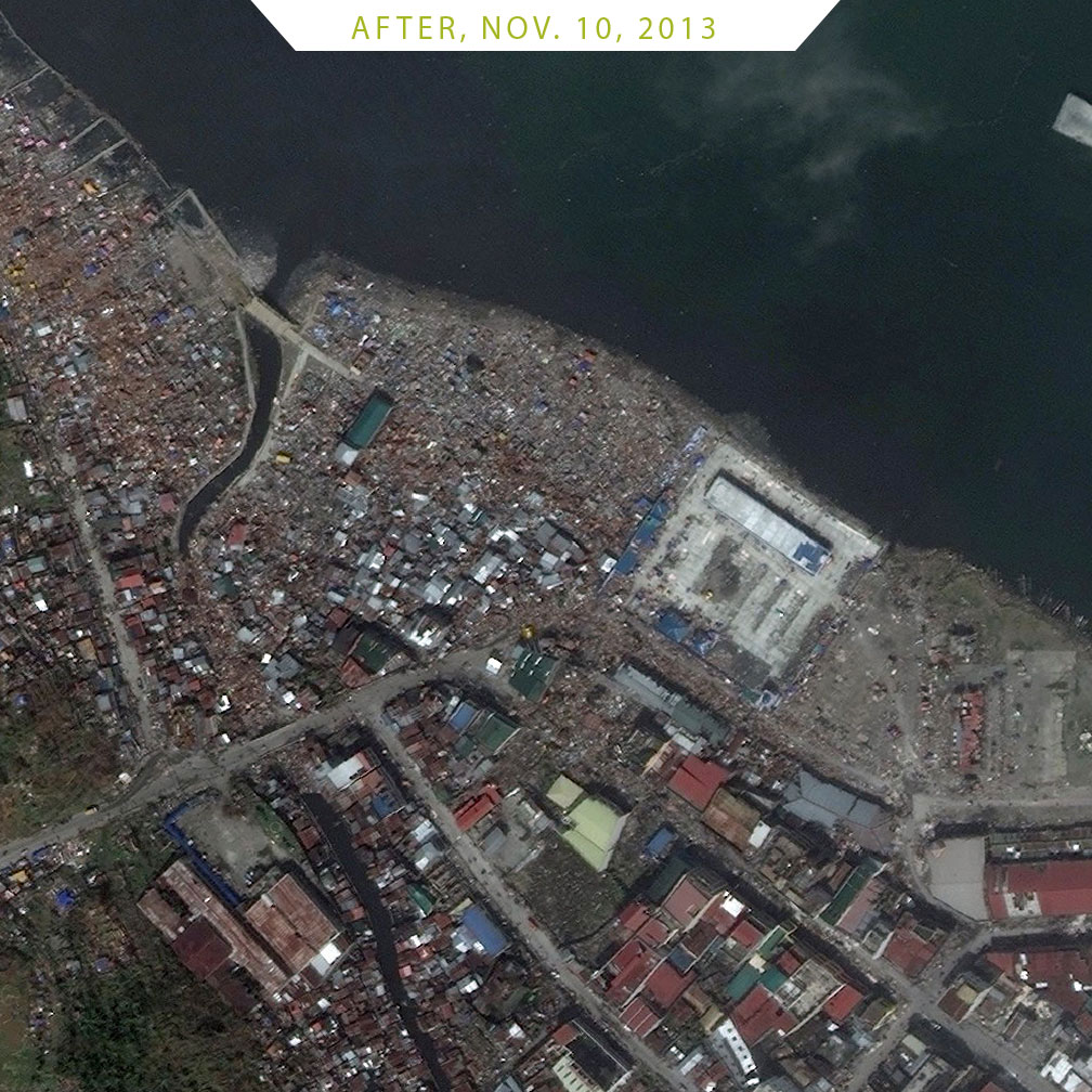 FIGURE 2-3. Typhoon Haiyan, in Tacloban, Philippines, courtesy of DigitalGlobe Before image: Feb. 23, 2012 After image: Nov. 10, 2013