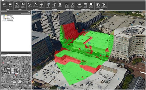 FIGURE 4. 3D Viewshed displayed in TerraExplorer, a product of Skyline Software Systems. Models supplied by Fugro.