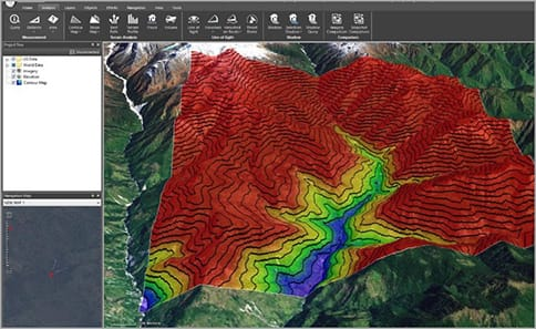FIGURE 7. Intensity and direction of terrain slope displayed in TerraExplorer.