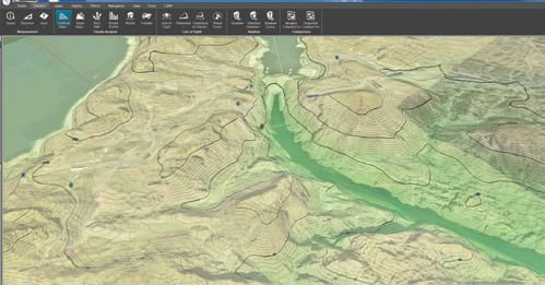 FIGURE 6. Elevation Contour Map displayed in TerraExplorer.