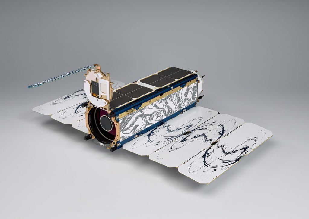 FIGURE 8. Dove satellites measure 10x10x30 centimeters. It will take 120 satellites orbiting in a Sun Synchronous Orbit to image the Earth's entire landmass every day. If current launch schedules hold, Planet Labs will reach this on- orbit target by the end