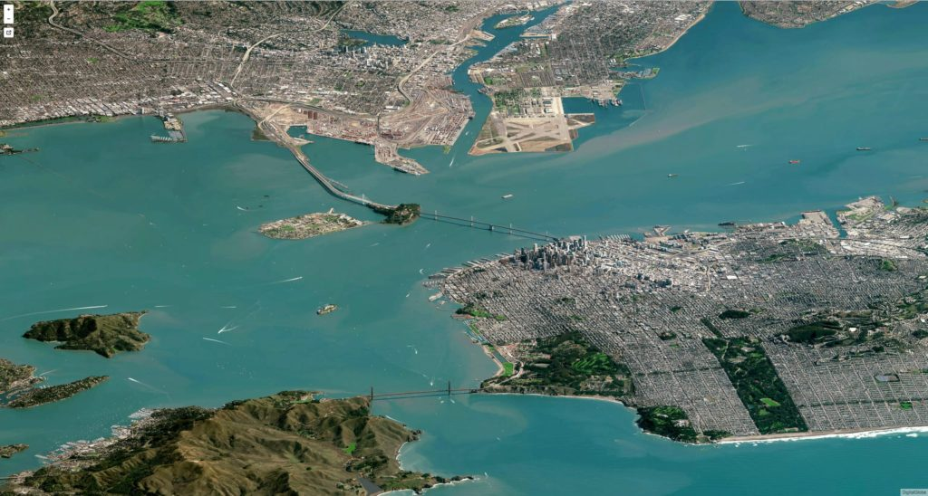 FIGURE 1. A high off-nadir image of the San Francisco area, taken on February 7, 2016, courtesy of Digital Globe.