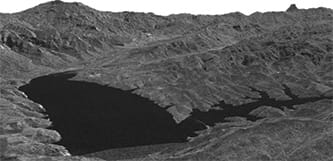 FIGURE 5: SAR Amplitude image of Lago di Monte Cotugno, Italy, May 6, 2015, by TerraSAR-X. Copyright: DLR e.V. 2009, Distribution Airbus DS Geo GmbH.