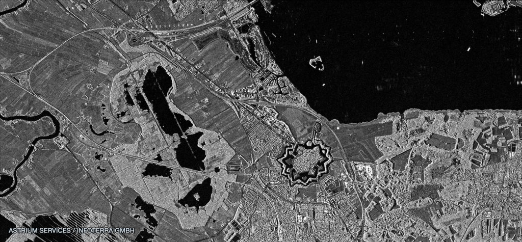 FIGURE 2 .Naarden, The Netherlands, image by TerraSAR-X High Resolution SpotLight 1-m acquisition on Mar. 20, 2009. Copyright: DLR e.V. 2009, Distribution Airbus DS Geo GmbH.