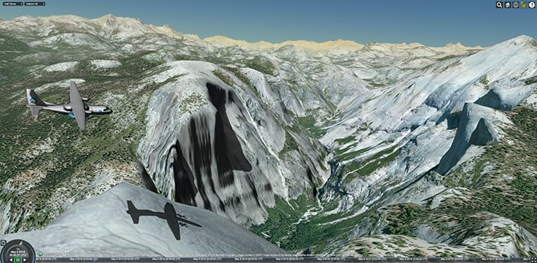 Cesium aircraft casts a shadow over Half Dome, in Yosemite National Park, California. Courtesy of Analytical Graphics, Inc.