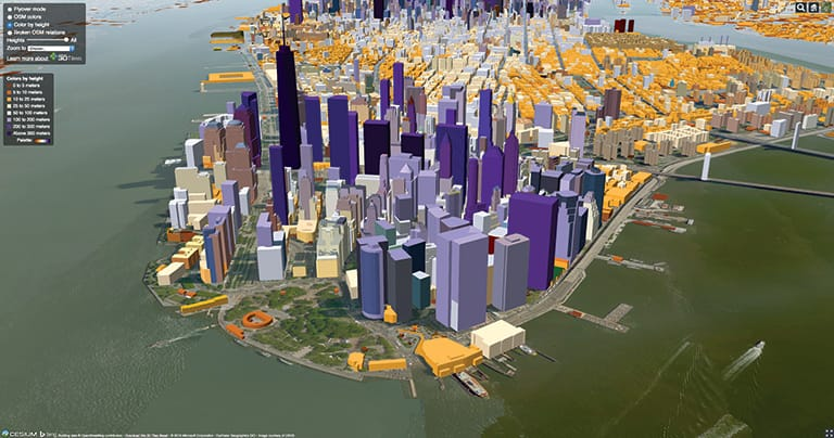 1.1 million New York City buildings dynamically styled with Cesium 3D Tiles. Image courtesy of Analytical Graphics, Inc.