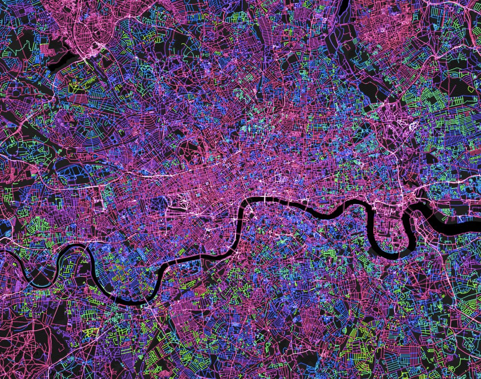 FIGURE 8. Mapbox contributes to the OSM community. This map shows ten years of OSM edits in London.